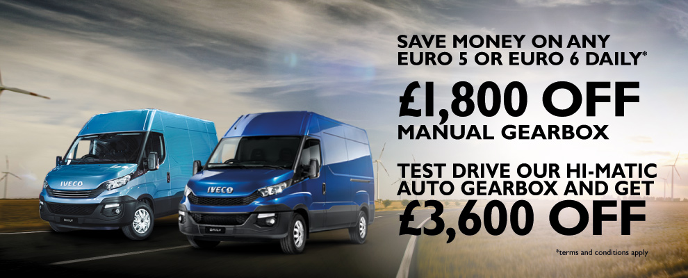 Test drive our IVECO Daily Hi-Matic and receive a double discount of £3,600 off a new IVECO Daily.